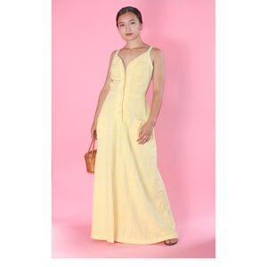 (295) VTG 1970s Dreamy Yellow Maxi Dress